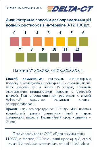 Индикаторные полоски рН 0-12